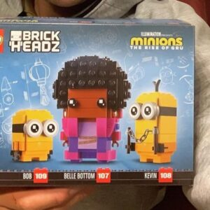 first look at lego minions brickheadz 40421 bob belle bottom and kevin