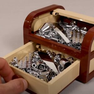 this lego tambour box holds a treasure trove of chrome pieces