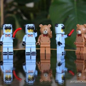 build a minifigure exclusives blue pug costume brown bear suit guy