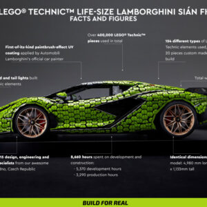 the life size lego lamborghini uses some exclusive elements