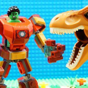 Dinosaur vs Hero Buster Transformer Lego