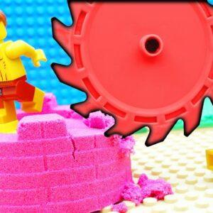 Lego Bulldozer Kinetic Sand Building Challenge