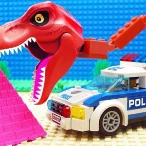 Lego Kinetic Sand Police Truck Crane Color Building
