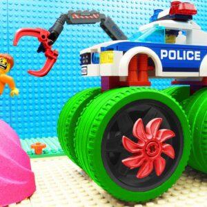 Lego Police Car Super Bulldozer Kinetic Sand