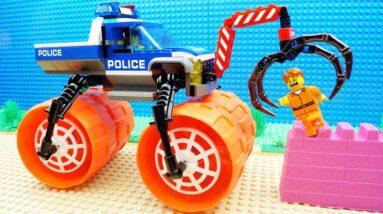Lego Police Super Truck Steamroller Parkour Kinetic Sand Fail