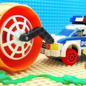 Police Streamroller vs Slime Car Fail Lego