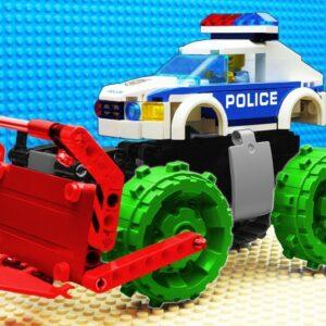 Police Tractor Crane vs Garbage Transport Lego