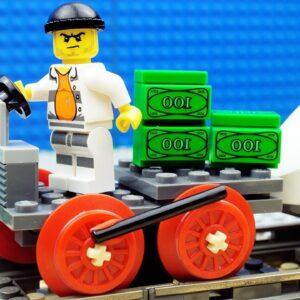 Police Truck vs Train Money Fail Lego