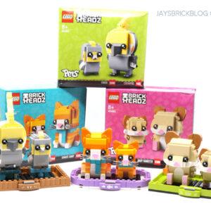 review lego brickheadz pets ginger tabby cockatiel hamster 40480 40481 40482