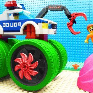 Super Truck vs Police Crane Fail Lego