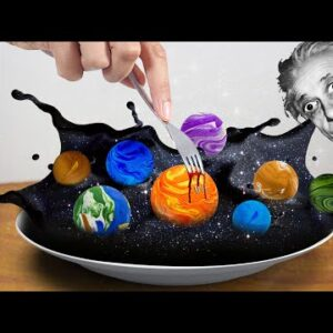 Galaxy Soup: Eating THE WHOLE PLANETS in real life - Cooking ASMR Mukbang food sound