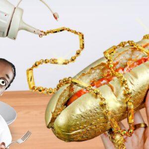 Lina Tik eating a 24K GOLDEN HOTDOG in Real Life - Mukbang ASMR No Talking/Kluna Tik Style