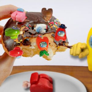 Eating AMONG US DONUTS in real life - Monster Meal ASMR Mukbang food eating sounds no talk/Kluna Tik