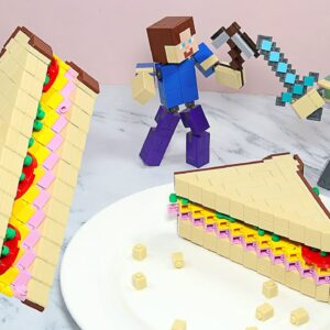 Lego Minecraft Animation #2 - Making Lego Sandwich In Real Life | Stop Motion Cooking & ASMR