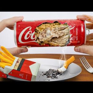 Eating CIGARETTE French fries and COCA Fried Chicken - ASMR Food Mukbang Animation