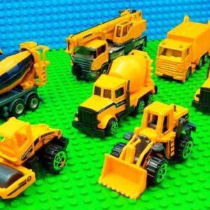 Big Building Trucks Concrete Mixer Bulldozer Crane
