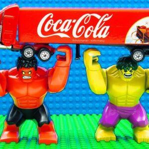 Big Scooptram Front Coco Cola Truck Loader Bulldozer vs Hulk Team