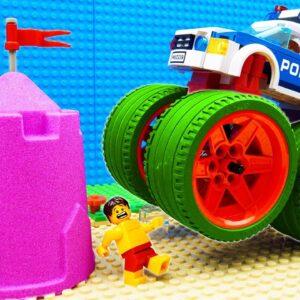 Big Trucks Kinetic Sand Bulldozer Racing
