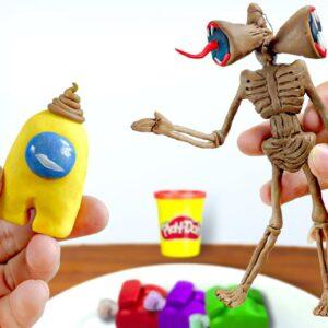 *Mukbang* Eating Edible Play-Doh SIREN HEAD and Mini CREWMATES (Among Us) - ASMR Food Sounds