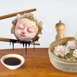 Eating BABY-HEAD Dimsum for Dinner - ASMR Mukbang Food Sounds No Talk
