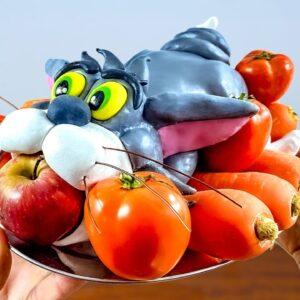 Eating ROASTED TOM CAT(Tom & Jerry) - Lina Tik ASMR Food Mukbang No Talk