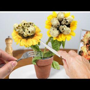 Eating Sunflower Skull for Dinner! Cooking ASMR Food Animation
