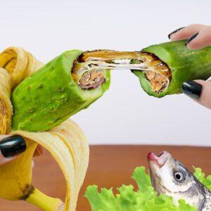 Eating a STRANGE BANANA with LIVE FISH Salad in Real Life - Lina Tik ASMR Mukbang Food