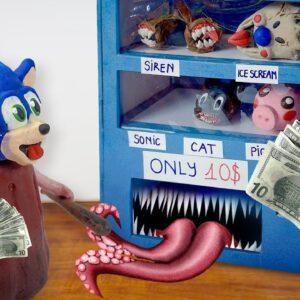 Sonic, Siren Head, Piggy, Cartoon Cat are INSIDE a Vending Machine - ASMR Mukbang Food Sounds