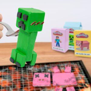 Lina Tik eating  MINECRAFT Play Doh IRL - ASMR Mukbang food sounds no talk