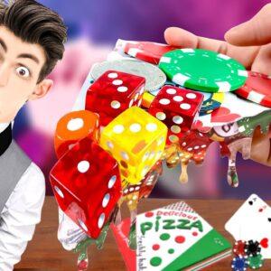 Eatting PizzaCasino ( Poker, Chip, Card..) For Dinner | ASMR Mukbang Food Animation