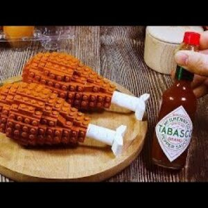 Lego Godzilla vs Kong: Making Spicy Chicken Thighs In Real Life | Stop Motion Cooking ASMR