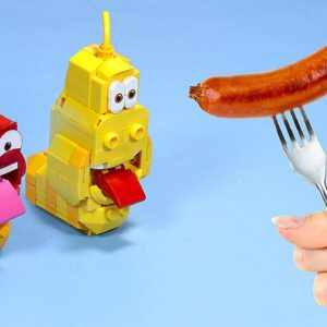 LEGO LARVA Funny Animation : War with Food - Stop Motion Cooking & ASMR