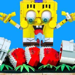 LEGO SPONGEBOB vs BABY SHARK Food Challenge | MUKBANG ANIMATION