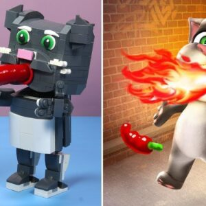 LEGO TALKING TOM vs. REAL LIFE - Stop Motion Cooking Animation