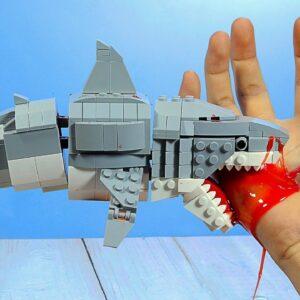 Lego Zombie Shark IRL - Funny Food ASMR Animation