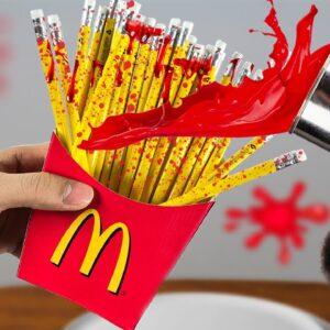 CRUNCHY McDonald's CRAYON French Fries | Lina Tik ASMR Eating Sounds/ Food Mukbang