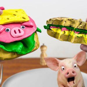Mukbang EDIBLE PIGGY SANDWICH -ASMR Eating Food Sounds No Talking
