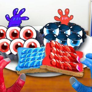RED vs BLUE FOOD CHALLENGE! MUKBANG ANIMATION
