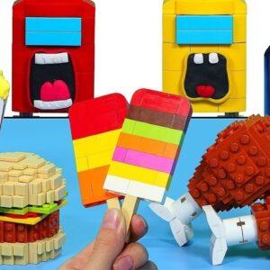 LEGO vs AMONG US Mukbang Challenge - Funny Food Animation IRL | Stop Motion ASMR