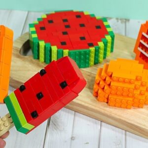 Lego Fruit Ice Cream (Watermelon, Orange) - Lego In Real Life / Stop Motion Cooking & ASMR
