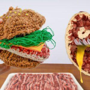 Eating an ENTIRELY WOOLEN HAMBURGER - Monster Meal ASMR Kluna Tik Style/Mukbang no talk IRL