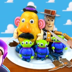 Eating TOY STORY (Woody, Little Green Aliens, Mr. Potato Head)In Real Life! - MUKBANG ASMR Animation