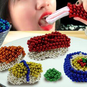 Eating Rainbow Magnetic Balls Sushi for Dinner (Satisfying) - Lina Tik ASMR food MUKBANG