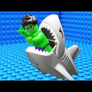 JURASSIC WORLD EVOLUTION Blue T-REX Dinosaurs vs Green Hulk Team vs Shark