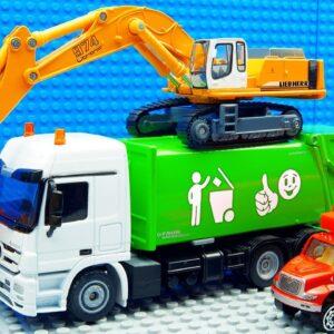 Big Excavator Trucks Dump Sreamroller Racing