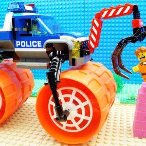 Big Police Tow Trucks Excavator Racing