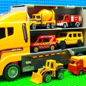 Big Transporter Building Trucks Concrete Mixer Bulldozer Crane