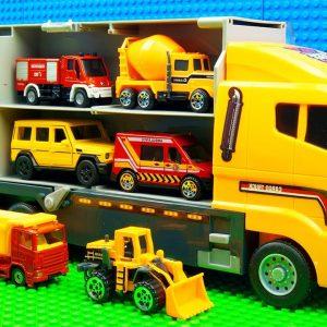 Big Transporter vs Building Bulldozer Trucks Steamroller