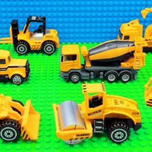 Building Cars Big Crane Bulldozer Box Truck Van Bus