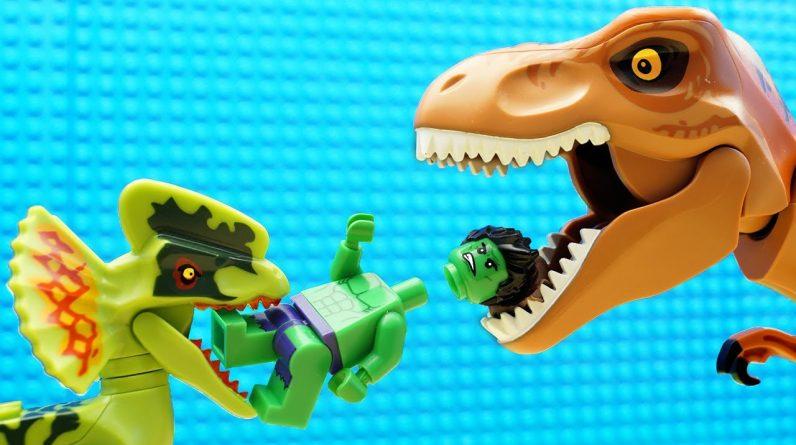 JURASSIC WORLD EVOLUTION Blue T-REX Dinosaurs vs Red Hulk